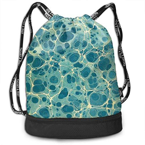 Bolsas de cuerdas,Bolsas de gimnasia,Mochilas tipo Casual, Funny Unisex Drawstring Beam Backpack Green Beautiful Water Stream Print Backpack