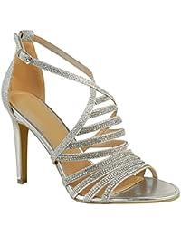 Sandales à talons hauts - faux diamants brillants - mariage/fête - femme