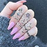 Yinew Vintage Rhinestone Crystal Above Knuckle Rings set Arrow Moon Nail Midi Ring