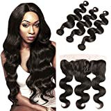 DAIMER Peruvian Lace Front Ear to Ear Closure 4x13 Free Part Bleached Knots and 100 Human Hair Extensions Body Wave Weave Nantural Brown 16 18 20 +14 Frontal