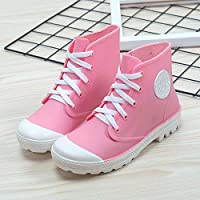 Women Wellington Boots Rain Boot,Anti Slip Waterproof Fashion Lace Up Pink Martin Short Boots Wellies Outdoor Snow Shoes Rain Shoes For Ladies Grassland Walking Music Festival Clothing Accessories