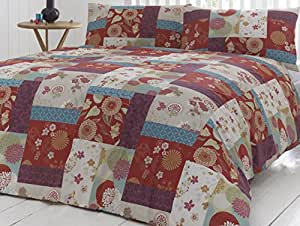 'Oriental Patchwork' King Duvet Cover Set in Spice, Includes: 1x King Duvet Cover and 2x Pillowcases