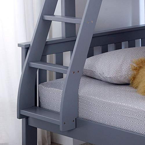 Happy Beds Atlantis Grey Finished Solid Wooden Triple Sleeper Bunk Bed Frame