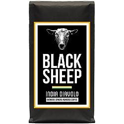 Black Sheep Coffee - India Diavolo | Ganze Bohnen Röstkaffee aus Indien | Sehr kräftiger Kaffee mit wenig Säure | sehr dunkle Trommelröstung | Nicht für schwache Gemüter und schwangere Frauen empfohlen
