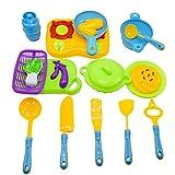Wokee pastellfarbenes Küchen-Spielzeugset mit Ofen-Küchengerät-Spielzeug-Spaß Tun vortäuschen, Nahrungsmittelkinder zu Kochen, täuschen Spiel-Spielzeug vor Zubehör