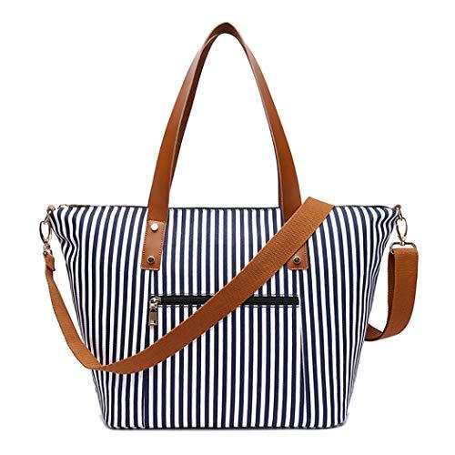 COOFIT Damen Umhängetasche Fashion Stripe Pattern Casual Satchel Handtasche Umhängetasche - Stripe Zip Satchel