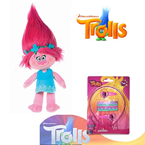 TR Trolls - Plüsch Princess Poppy 37cm, Rosa Haaren - Qualität Super Soft + Haarschmuck (9pcs)