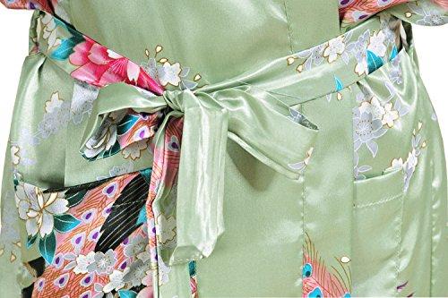 Damen Morgenmantel Kimono Robe Bademantel Nachtwäsche Lange Stil Green