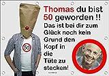 140x96 cm XL Geburtstagsbanner für Männer zum runden oder halbrunden Geburtstag mit Foto, Name und Alter personalisierbar - Geburtstags-Banner - Tüte am Kopf GEB21M