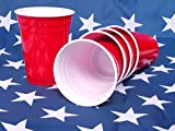 Authentic Solo® Red American Party Cups 16oz/454ml - The Iconic Heavyweight Disposable Ruby Plastic Cup Renowned For Parties And Beer Pong! The Exact Genuine And Original Solo Branded Cups Seen On Movies And TV In The USA [50 Pack]