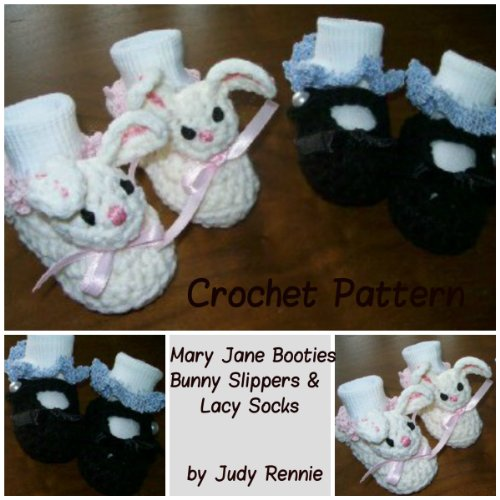 Crochet Pattern - Mary Janes, Bunny Slippers, Lacy Sock Trim (English Edition) (Bunny Trim)