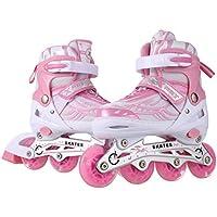 Profun Inline Skates Kinder Damen/Mädchen - Verstellbar Rollerskate Rollschuhe Rosa Größe 31-42 mit LED Rad und Bremse