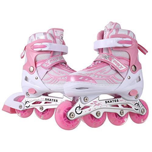 Profun Inline Skates Kinder Damen/MäDchen Verstellbar Rollschuhe Rosa Größe 31 32 33