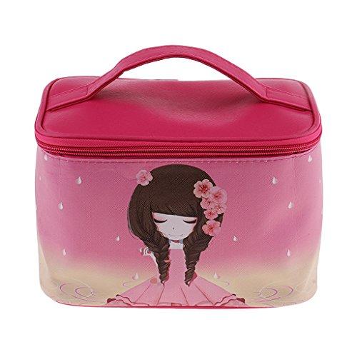 Sharplace Etanche Coffret de Maquillage Boîte Cosmétique en Cuir PU à Rangement Outils de Maquillage/Accessoires de Rasage pour Homme et Femmes - Rose rouge