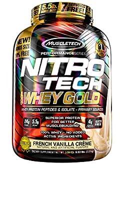 Muscletech Nitro-Tech 100% Whey Sports Supplement, 2.51 kg, Strawberry