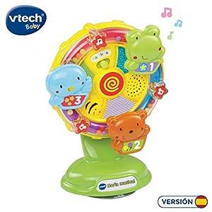VTech- Noria Musical Sonajero Interactivo Que Incluye una Ventosa para pegarlo en una superfície Lisa y Plana o adherirlo a la Trona, enseña Vocabulario, Animales y Colores (3480-165922)