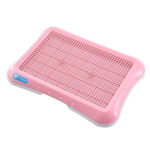 Toilette Per Cani Del Pavimento Potty Toilette Domestici Con Gabbiettada Parete Inodore WC Trainer Kit Potty Training Pad Indoor Outdoor Vassoio Rete Per Orinatoio L:63 * 47 * 5 Cm,Pink