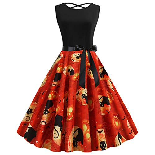 PLOT Cocktailkleid Damen 1950er Vintage Rockabilly Retro Kleider Abendkleid Ärmellos Patchwork Hepburn Partykleid Bowknot Gürtel 3D Druck Halloween Element - Womens Oberste Element Kostüm