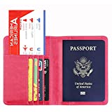 Gaddrt Passport Wallet Passport Holder Wallet Cover aus Leder RFID Reisebrieftasche blockieren 14.2cm x 10.5cm (Hot Pink)