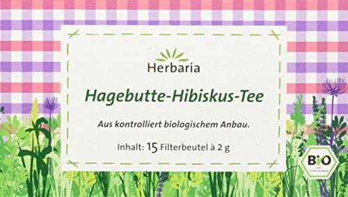 Herbaria Hagebutte-Hibiskus-Tee 15FB, 2er Pack (2 x 30 g) - Bio Tee-hibiscus Hagebutte