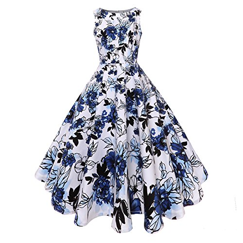 age 1950's Floral Spring Garden Picnic Dress Party Cocktail Dress (Blau, Large) (Womens Kirche Anzüge Unter 100)