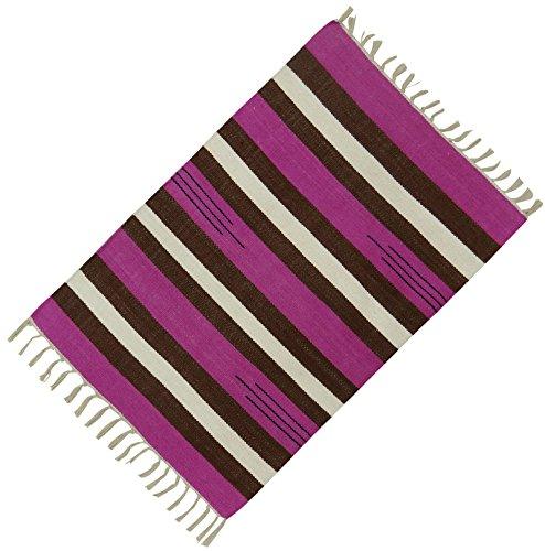 Baumwolle Jute Bodenmatte Handgewebte Wurf Läufer Teppich Teppich Streifenmuster Dari 36