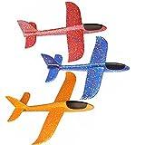 Alxcio Avion Planeurs Enfant Jouet, 3Pcs Lancé Mousse Jetant Voler Modèle Jouet pour Enfants Garçons Filles, Jeux de Plein air - (Bleu + Rouge + Orange)