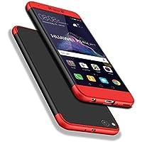 Huawei P8 Lite 2017 Funda, WindCase 360 Grados Cuerpo Completo Protección 3 en 1 Duro PC Funda Anti-rasguños Carcasa para Huawei P8 Lite 2017 / Honor 8 Lite Negro Rojo + Protector de Pantalla de Vidrio Templado