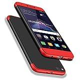 Huawei P8 Lite 2017 Coque, WindCase 360 Degres Full body Housse 3 en 1 Anti-égratignures PC Intégrale Rigide Protection Case pour Huawei P8 Lite 2017 / Honor 8 Lite Noir Rouge + Protection en Verre Trempé