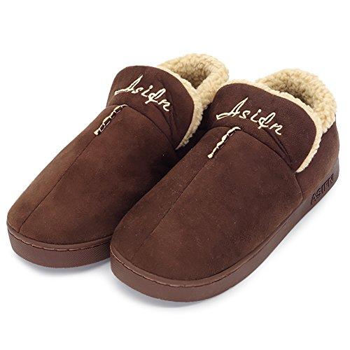 da Maesty Pantofole eu Shoes Home Donna Plus Interno Size Uomo Inverno Peluche Marrone Leggero Velvet xxgEqrAw5