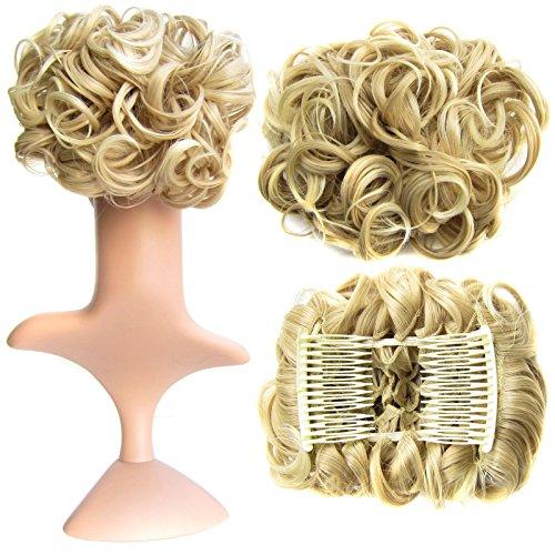 Feshfen short messy curly hair bun piece up do coulisse ponytail extension chignon pettine clip scrunchy scrunchie-1# nero