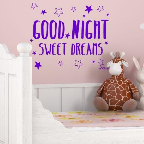 Preisvergleich Produktbild Aufkleber für Kinder GOOD NIGHT SWEET DREAMS. 60X45 cm purpur