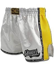 """'Danger Muay Thai Pantalones Cortos """"cintura baja, color blanco, hecha de satén, color blanco, tamaño XL (32"""")"""