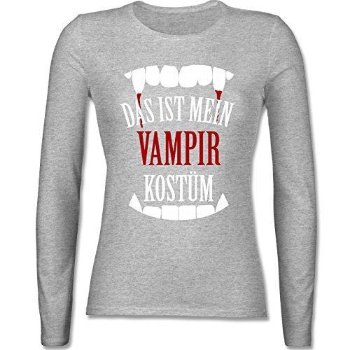 - Das ist mein Vampir Kostüm - XL - Grau meliert - BCTW013 - Damen Langarmshirt (Günstige Vampir Kostüme Für Frauen)