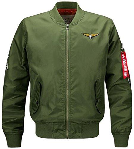 moxishop Herbst Frühling MA1 Bomberjacke Steppmantel Bikerjacke Kurz Jacke mit Messing Reißverschluss (EU 4XL = Tag 6XL, de1616-Schwarz)