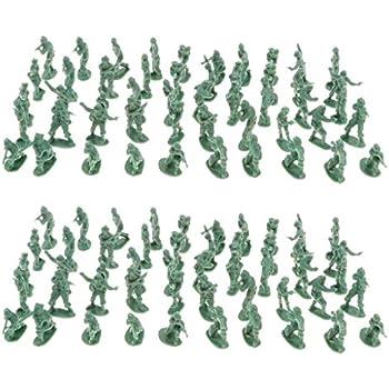 120pcs plastique militaire ensemble jouet 4cm armée soldats figurines