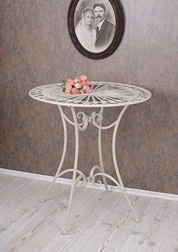 Gartentisch Weiss Tisch Shabby Chic Metalltisch Rund Eisentisch aja063 Palazzo Exklusiv