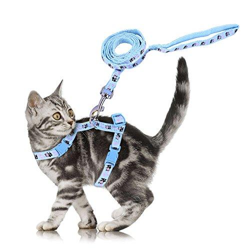 verstellbar Cute Pet Kleine Katze Kätzchen Geschirr Nylon Kaninchen Print Leine Set mit Schnalle