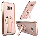 Coque Galaxy S7 Edge Case Housse [Crystal Bumper][Transparent étui] [Housse de Protection] [Kickstand] [Anti Scratch Case] [Anti Chocs] Pour Samsung Galaxy S7 Edge (Galaxy S7 Edge, Rose Or)