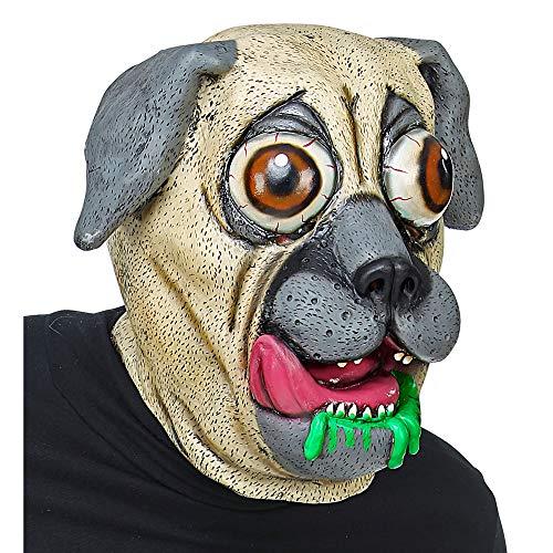 Widmann 03299 Ganzkopf Maske Bulldogge mit Riesenaugen, Unisex– Erwachsene, Braun