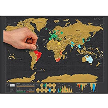 New yolala creative scratch map with scratch off layer visual travel new yolala creative scratch map with scratch off layer visual travel journal world map poster for education home decor good gift 42cm 30cm amazon gumiabroncs Gallery