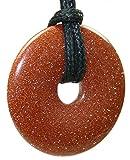 budawi® - Goldfluss Donut 40 mm mit schwarzem Lederband, Edelstein Anhänger, Kettenanhänger, Anhänger Goldfluss