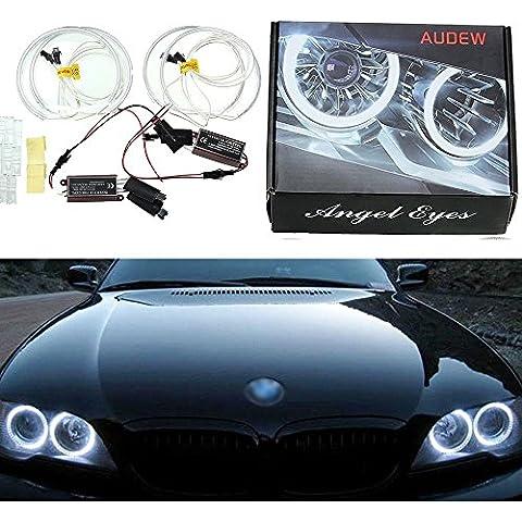 AUDEW 4 x Angel Eyes CCFL Fari anteriori del xeno auto Halo anello della lampadina per BMW E36 E38 E39 E46 con UPS Bianco 6500k