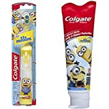 Colgate Kids Minions Power Toothbrush + Colgate Minions Mild Bubble Fruit Fluoride Toothpaste, 4.6 Oz