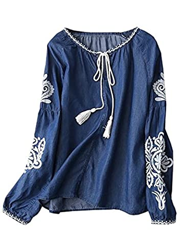 Futurino Women's Embroidery Long Drop Sleeve Tassel Front Peasant Denim Blouse S Denim
