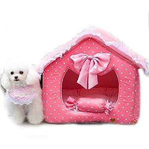 lavable 2pièces Chien Puppy Lit Maison avec oreiller pour animal domestique Chat Chien de luxe Rose Princesse Canapé lit chenil Tapis de coussin pour petit chien