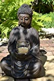 Maison en France Buddha- hübscher großer Stabiler Buddha mit Teelichthalter Glas, Höhe 61 cm, Breite 38 cm, Tiefe 31