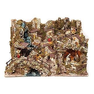 Holyart Portal de belén con Luces, Cascada, Fuego y Lago 56x76x48 cm, con estatuas