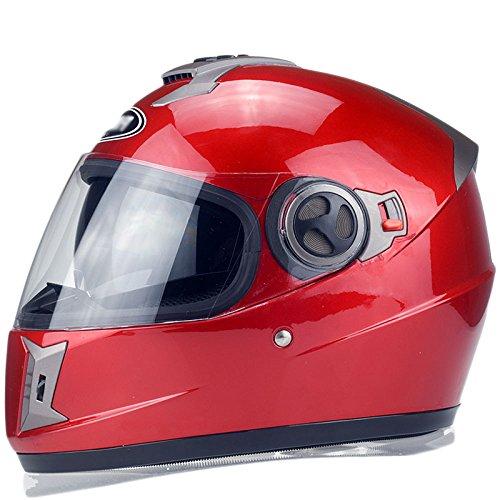 MHSXN Motorrad Helm Double Lens Atmungsaktiv Unisex Full Face Helm Schutzhelm,Red-Within61cm