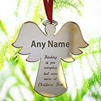 Personalised Christmas Bauble Ornament Engraved Gift Bauble for Christmas - Xmas Tree Decoration Angel Shape